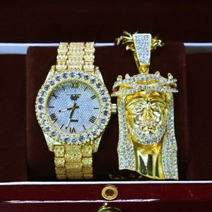 """Other - 18K Gold PT Iced Out Watch, XL JESUS 24"""" Necklace"""